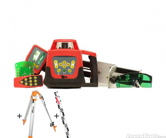 TUF Green Laser Rotary Laser Level + Tripod and Staff RHVP500G Kit