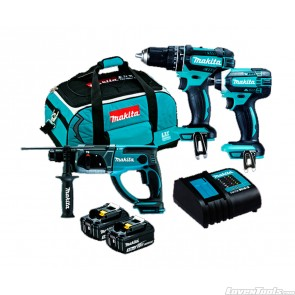 Makita 18V 2 x 3.0Ah 3 Piece Cordless Combo Kit DLX3100S